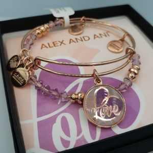 NWT Alex and Ani Love Set of 2 Rose Gold